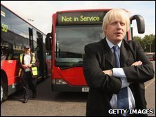 Boris Johnson with decommissioned bendy bus