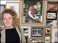 Rachel Horne with her artwork
