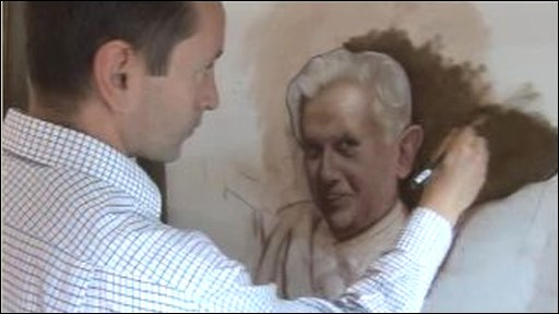 Alex Talbot Rice working on his portrait of the pope