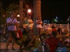 Evacuated expats and holidaymakers in Mojacar, Spain