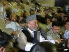 Karzai at election rally 24 July
