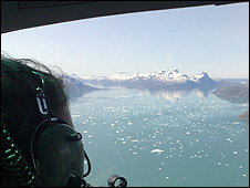 View of the fjord from the air (Image: BBC)