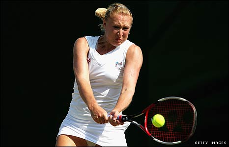 Elena Baltacha in action at Wimbledon 2009