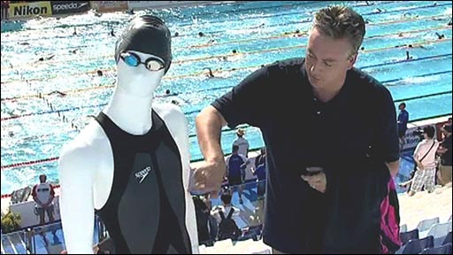 James Munro with a hi-tech swimsuit