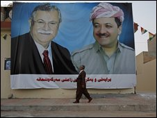 A poster of Kurdish leader Massoud Barzani, right, President of the Autonomous Kurdish Government and Iraqi President Jalal Talabani, ahead of regional elections