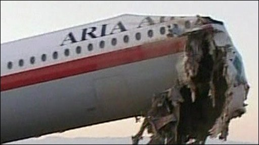 The damaged plane