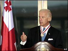 Joe Biden speaks after receiving an award from Georgia's President Mikhail Saakashvili during a reception in Tbilisi, Georgia, 22 July 2009