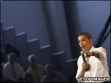 US President Barack Obama at a town hall meeting on healthcare reform (23 July 2009)