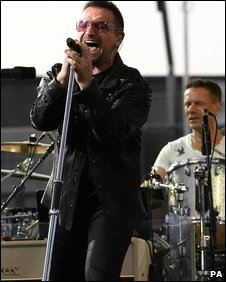 Bono (left) and Larry Mullen Jnr from U2 playing at Croke Park