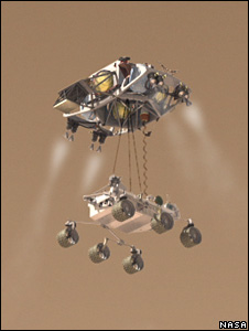 Curiosity and skycrane (Nasa)