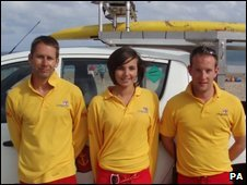 Lifeguards (l-r) Adam Pitman, Coral Lewis and Jon Johnson
