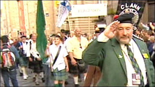 Clan members march in Edinburgh