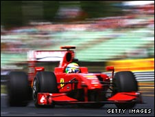Ferrari's Felipe Massa before his crash in qualifying for the Hungarian Grand Prix