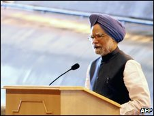 "Manmohan Singh speaks during the launch ceremony of India""s first nuclear-powered submarine, INS Arihant at Vishakhapatnam in India, Sunday, July 26, 2009."