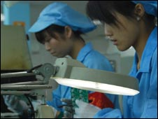Staff at Chinese firm Etron