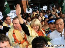 Joanna Lumley is greeted by well-wishers in Kathmandu, Nepal