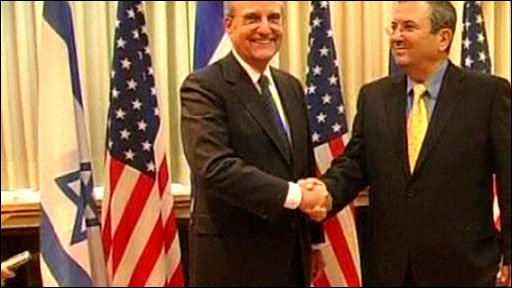 US envoy George Mitchell (left) with Israeli Defence Minister Ehud Barak