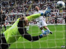 Alan Shearer scores the winning goal