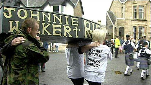 Protesters in Kilmarnock