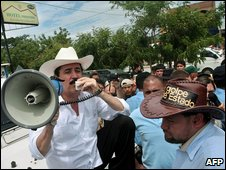 Mr Zelaya addresses his supporters in Nicaragua on 26 July
