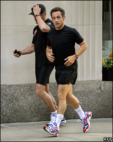 Nicolas Sarkozy running in New York (17 July 2009)