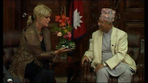Joanna Lumley and Madhav Kumar Nepal