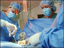 Doctors and nurses in operating theatre surgery performing an operation