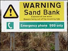 Sandbank warning sign
