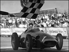 Juan Manuel Fangio wins the German Grand Prix in 1957