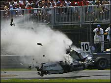 Robert Kubica crashes in Canada in 2007