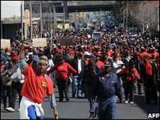 Worker march in central Johannesburg