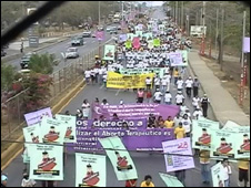 A demonstration in support of legal abortion in Managua in 2007
