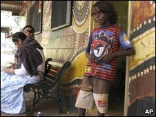 Aboriginal boy outside shop in outback town of Wadeye in the Northern Terrritory, Australia - 1 June 2009