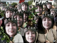 Protest in Paris for Neda Agha-Soltan