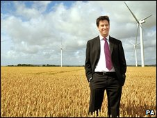 Ed Miliband opening a wind farm in Kent