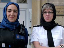 Women police officers wearing headscarves