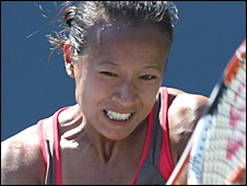 Anne Keothavong in action in Stanford