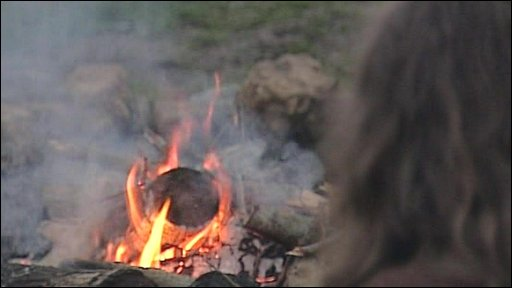 Camp fire at atheist camp