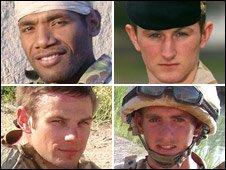 Clockwise from top left: Rifleman Aminiasi Toge, Cpl Joseph Etchells, Guardsman Christopher King, Capt Daniel Shepherd