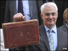 Alistair Darling holds aloft the 2009 Budget