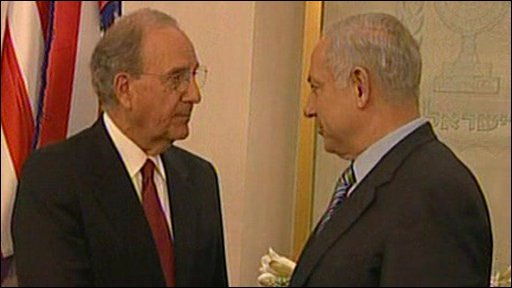 US Middle East envoy George Mitchell and Israeli PM Benjamin Netanyahu