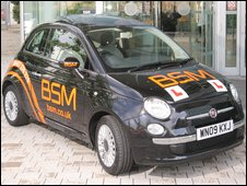 A BSM-branded Fiat 500