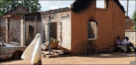 A burnt police station in the northern Nigerian city of Potiskum, 28/07