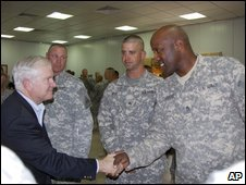 US Defence Secretary Robert Gates meets troops in Iraq, 28 July