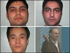 (Clockwise from top left) Sami Sheikh, Rafi Sheikh, Khalid Sheikh and Xin Li