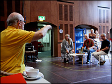 Sir Alan Ayckbourn in rehearsal