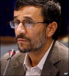 Iranian President Mahmoud Ahmadinejad in Tehran (8 July 2009)