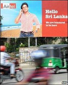 Mobile telephone advert in Sri Lanka
