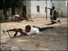 Somali child soldier in training