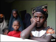 Children take refuge at a police station in Maiduguri, 28 July